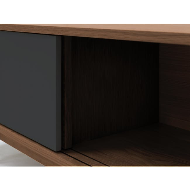 Emelie TV Console 1.6m in Walnut, Anthracite with Avery Coffee Table in Anthracite - 1