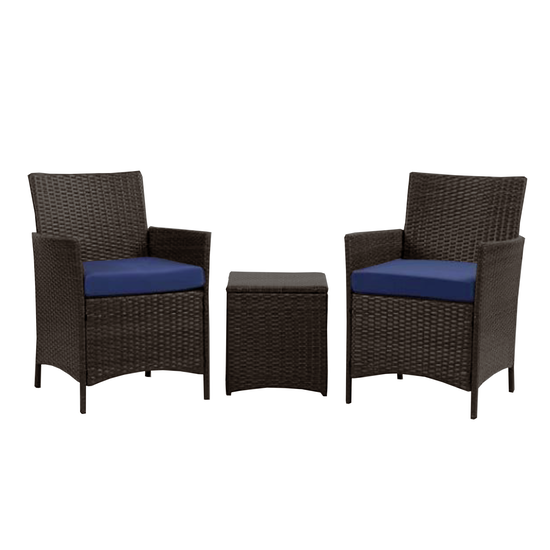 MLM Outdoor - Milton Armchairs with Side Table Outdoor Set - Navy