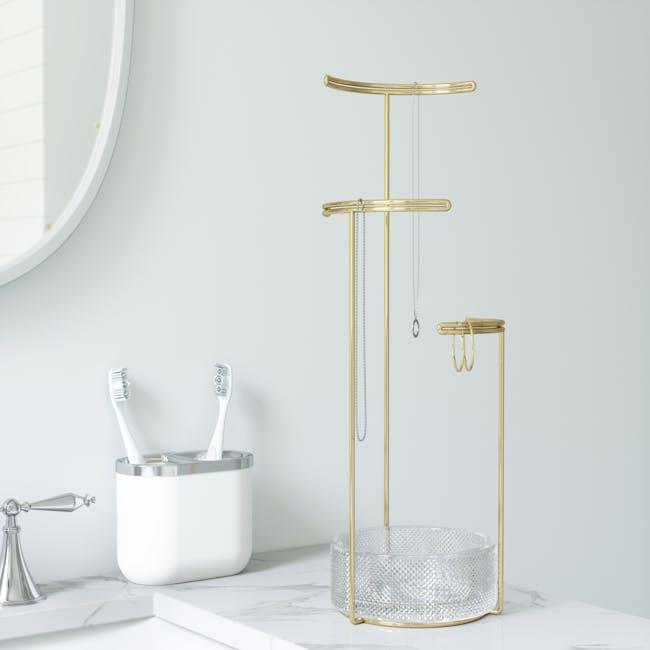Tesora Glass Jewelry Stand - Brass - 6