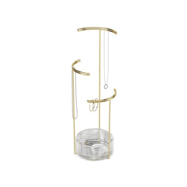 Tesora Glass Jewelry Stand - Brass - 0