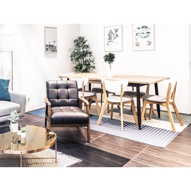 Rena Square Dining Table 0.7m with 2 Harold Dining Chairs in Natural, Dolphin Grey - 26