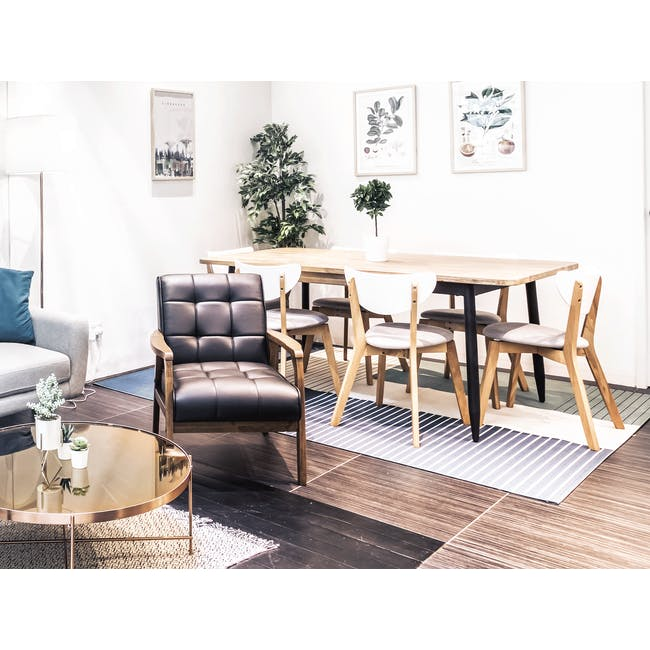Rena Square Dining Table 0.7m with 2 Harold Dining Chairs in Natural, Dolphin Grey - 25