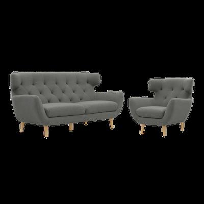 Agatha 3 Seater Sofa with Agatha Armchair - Granite - Image 1