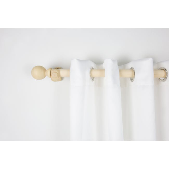 Wooden Curtain Rod with Wall Mount 2.0m - Natural - 4
