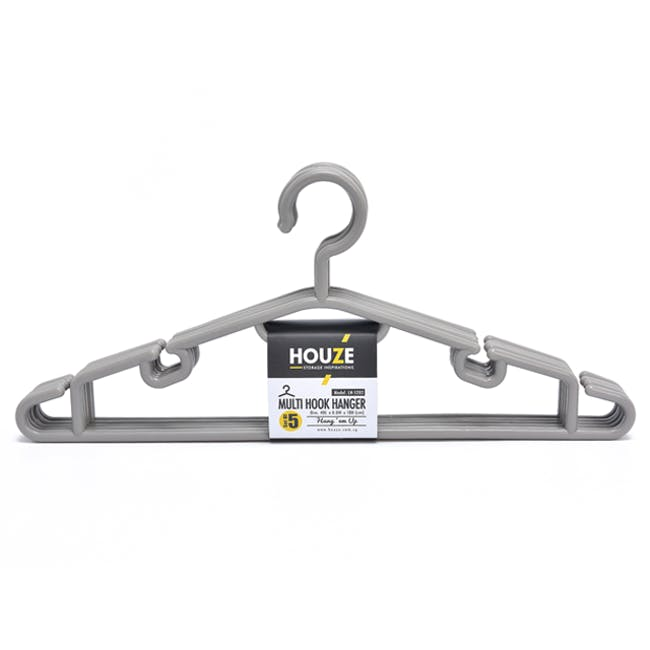 HOUZE Multi Hook Hangers (Set of 5) - Grey - 0