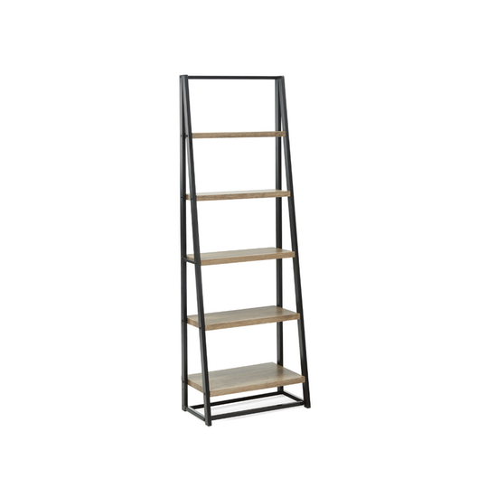 Glass and Metal - Luca Tall Shelf - Black, Oak