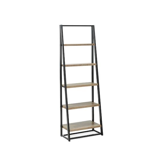 Glass and Metal - Luca Tall Shelf- Black, Oak