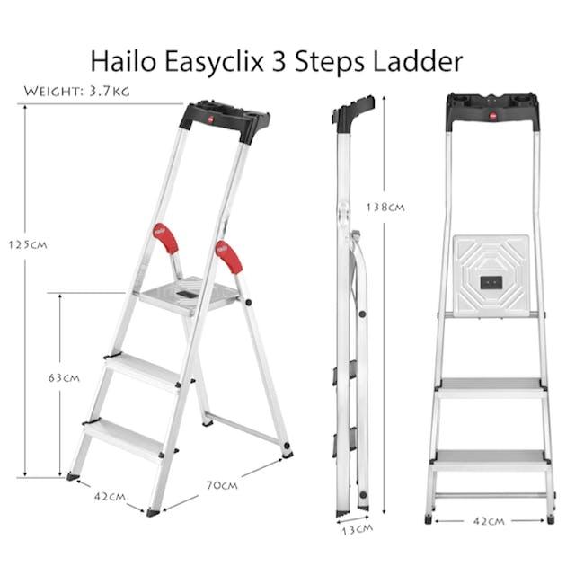 Hailo Aluminium 3 Step Ladder (2 Step Sizes) - 3
