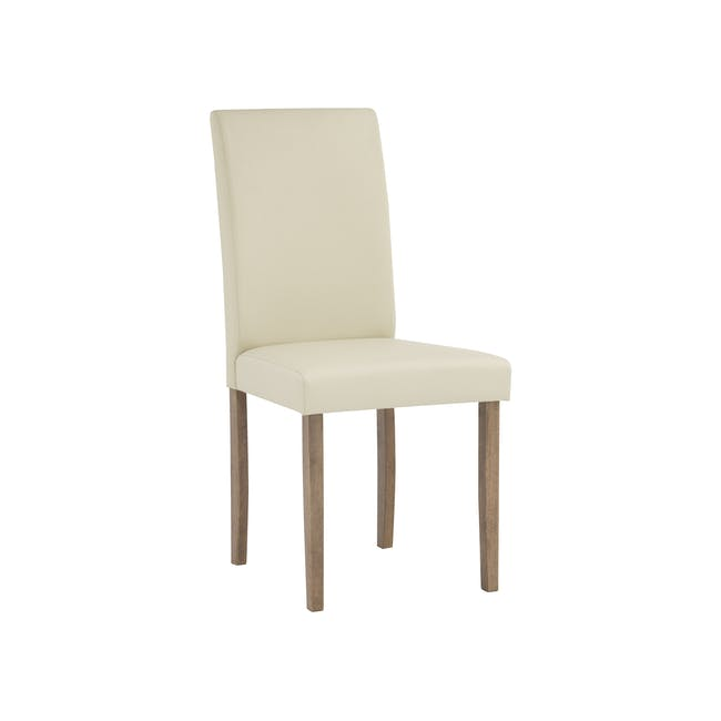Paco Dining Table 1.2m in Cocoa with 4 Dahlia Dining Chairs in Cream - 2