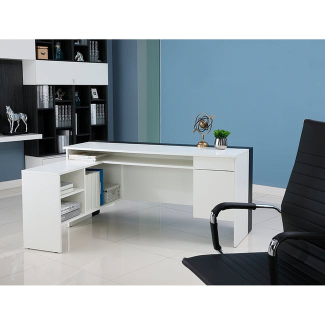 Leon Corner Study Table 1.6m - Black White - 1