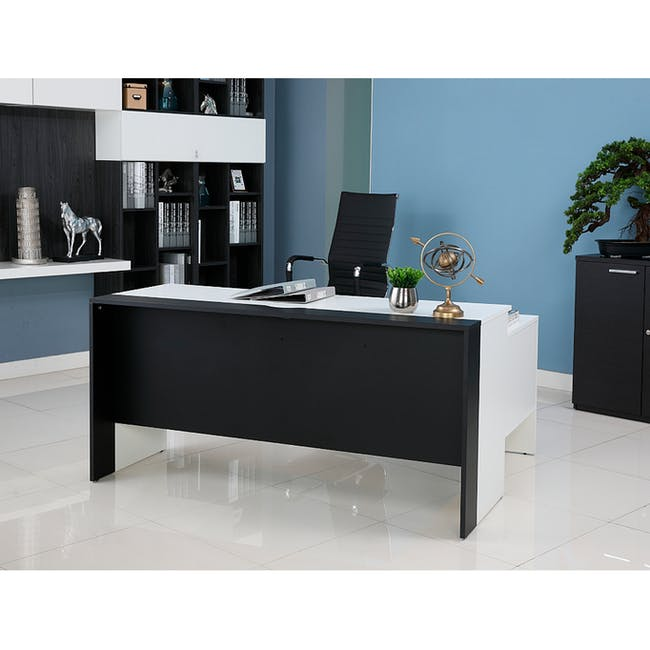 Leon Corner Study Table 1.6m - Black White - 2