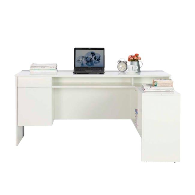Leon Corner Study Table 1.6m - Black White - 5
