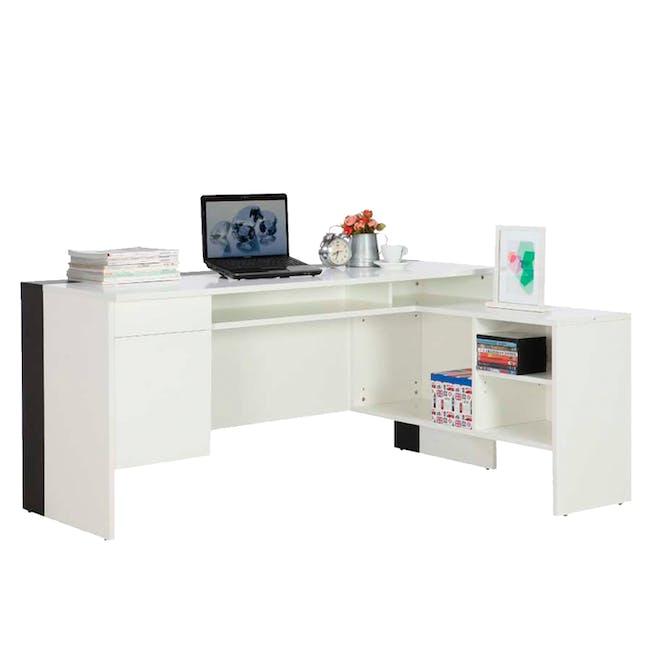 Leon Corner Study Table 1.6m - Black White - 0