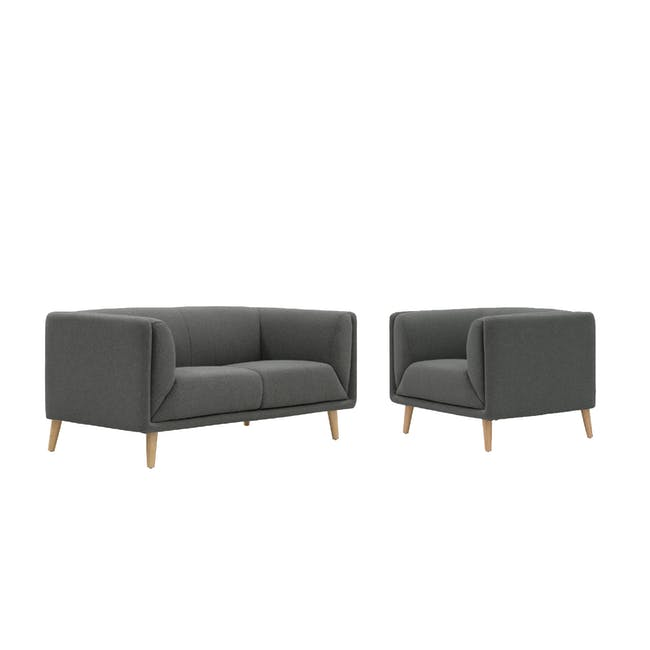 Audrey 2 Seater Sofa with Audrey Armchair - Granite - 0