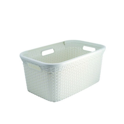 Rattan Style Rectangular 45L Hamper - Off White - Image 1