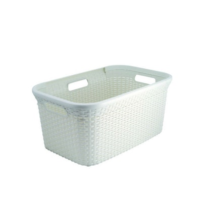 Rattan Style Rectangular 45L Hamper - Off White
