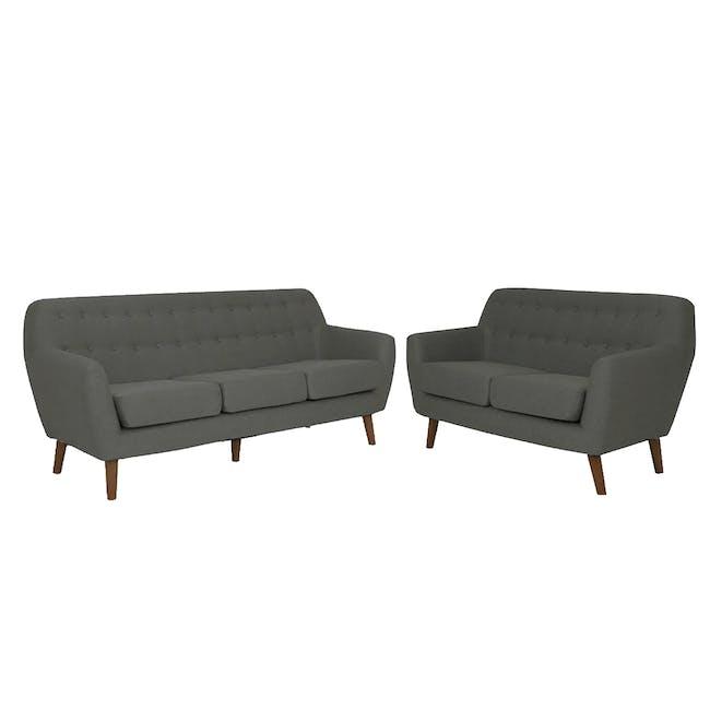 Emma 3 Seater Sofa with Emma 2 Seater Sofa - Raven - 0