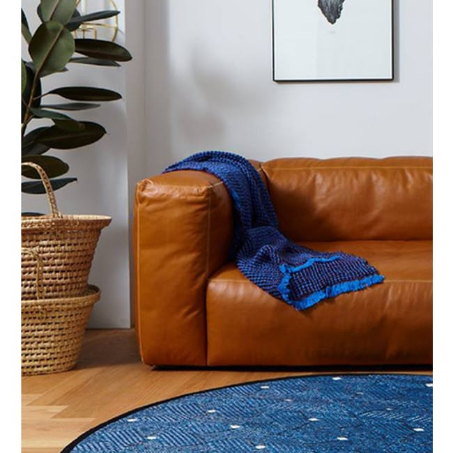 Ease Round Reversible Mat - Blue - 1