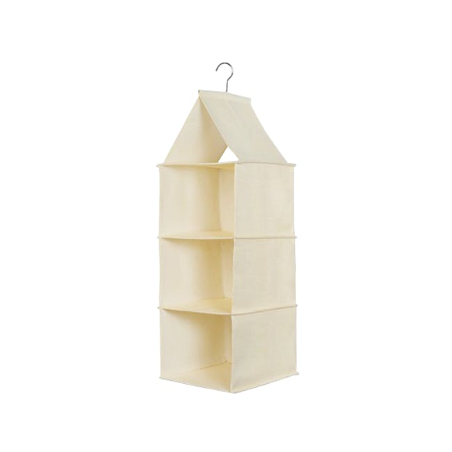 Cindy 3-Tier Hanging Wardrobe Organiser - Cream - 0