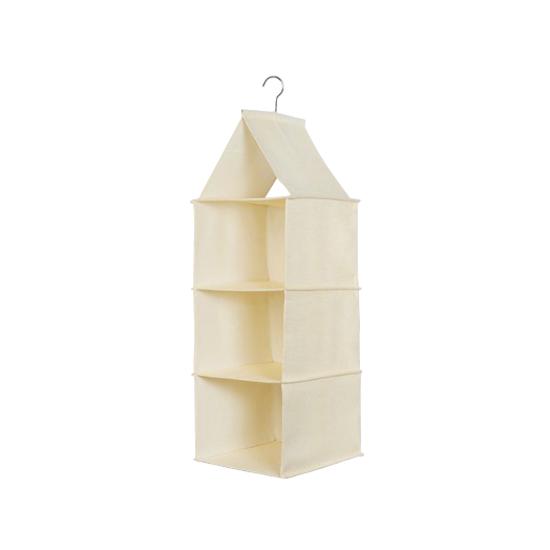 1688 - Cindy 3-Tier Hanging Wardrobe Organiser - Cream