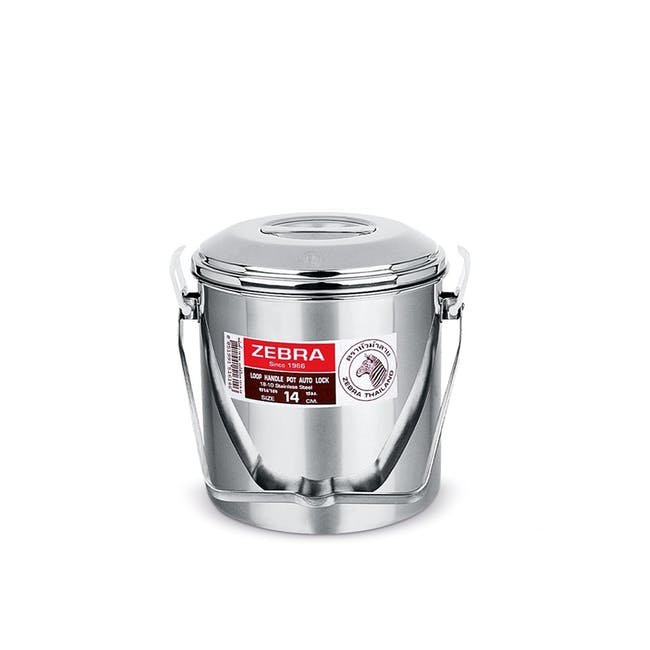 Zebra Stainless Steel Loop Handle Pot with Auto Lock, Lid & Insert (4 Sizes) - 0