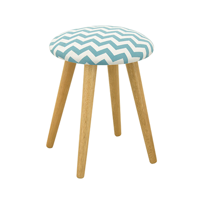 Poppy Stool - Natural, Chevron Mint Green - Image 1