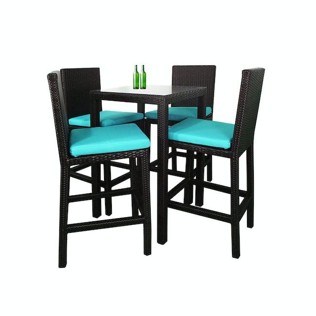 Midas 4 Chair Bar Set - Blue Cushion - 0