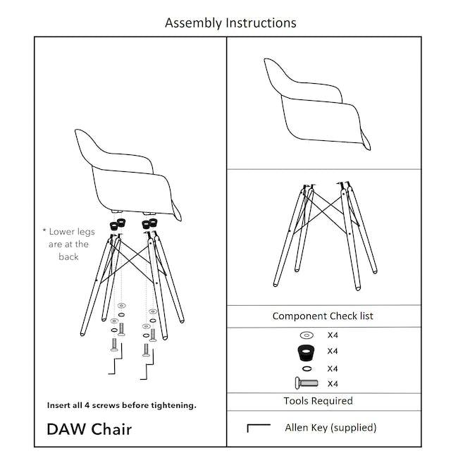 DAW Chair Replica - Natural, White - 7