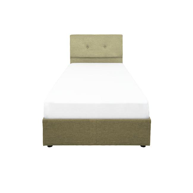 ESSENTIALS Super Single Headboard Box Bed - Khaki (Fabric) - 0