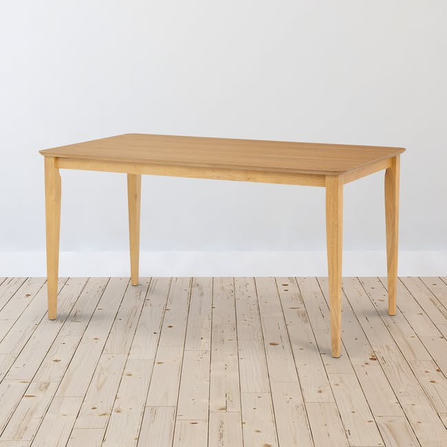 Charmant Dining Table 1.4m in Oak with 4 Dahlia Dining Chairs in Navy - 2