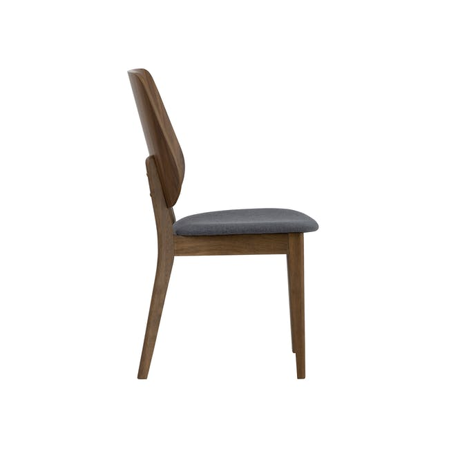 Cadell Dining Table 1.6m in Walnut with 4 Lofti Dining Chair in Cocoa, Battleship Grey - 10