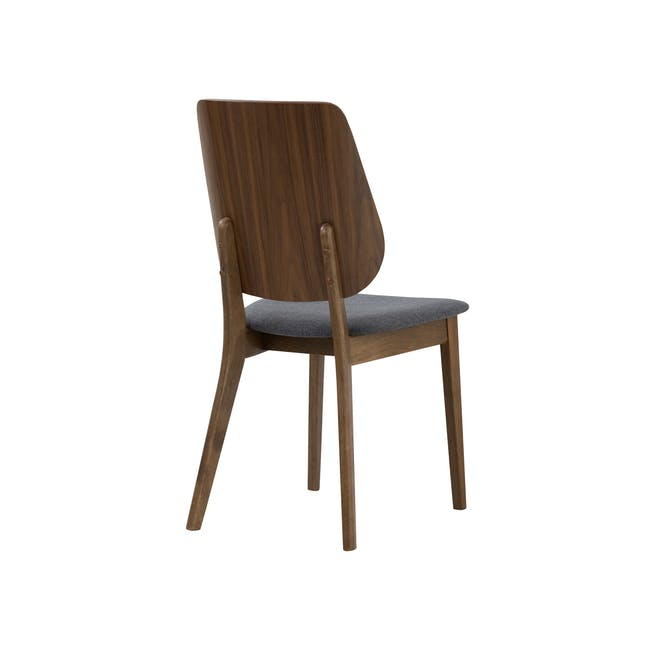 Cadell Dining Table 1.6m in Walnut with 4 Lofti Dining Chair in Cocoa, Battleship Grey - 11