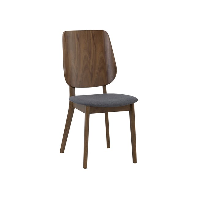 Cadell Dining Table 1.6m in Walnut with 4 Lofti Dining Chair in Cocoa, Battleship Grey - 8