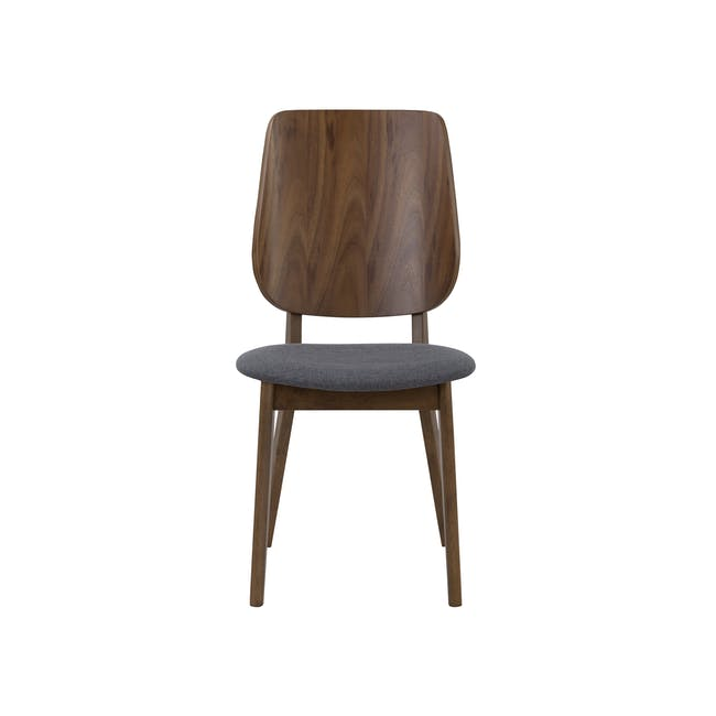 Cadell Dining Table 1.6m in Walnut with 4 Lofti Dining Chair in Cocoa, Battleship Grey - 9