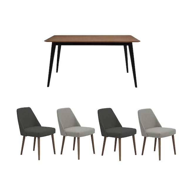 Ralph Dining Table 1.5m in Cocoa with 4 Miranda Chairs - 0