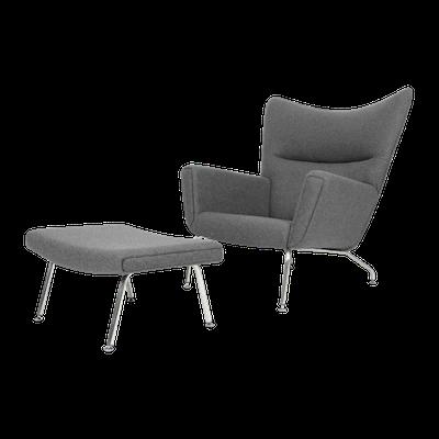 Hans J Wegner CH445 Chair with Ottoman - Light Grey Cashmere - Image 1