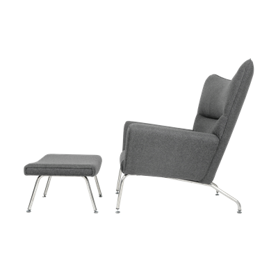 Hans J Wegner CH445 Chair with Ottoman - Light Grey Cashmere - Image 2