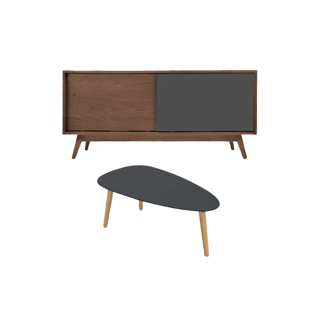 Emelie TV Console 1.2m in Walnut, Anthracite with Avery Coffee Table in Anthracite - 0