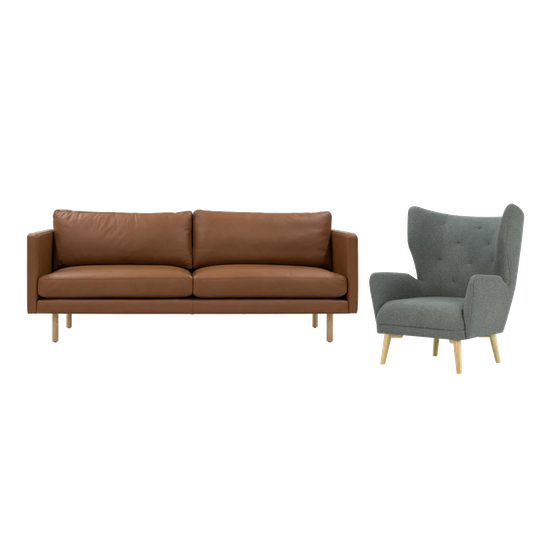 Rexton 3 Seater Sofa And Kiwami Lounge Chair In Battleship Grey