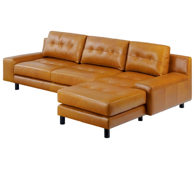 Wyatt L-Shaped Sofa - Butterscotch (Premium Waxed Leather) - 3