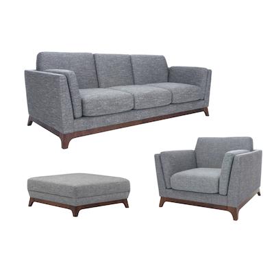 Elijah 3 Seater Living Room Set with Ottoman - Cocoa, Pebble - Image 1