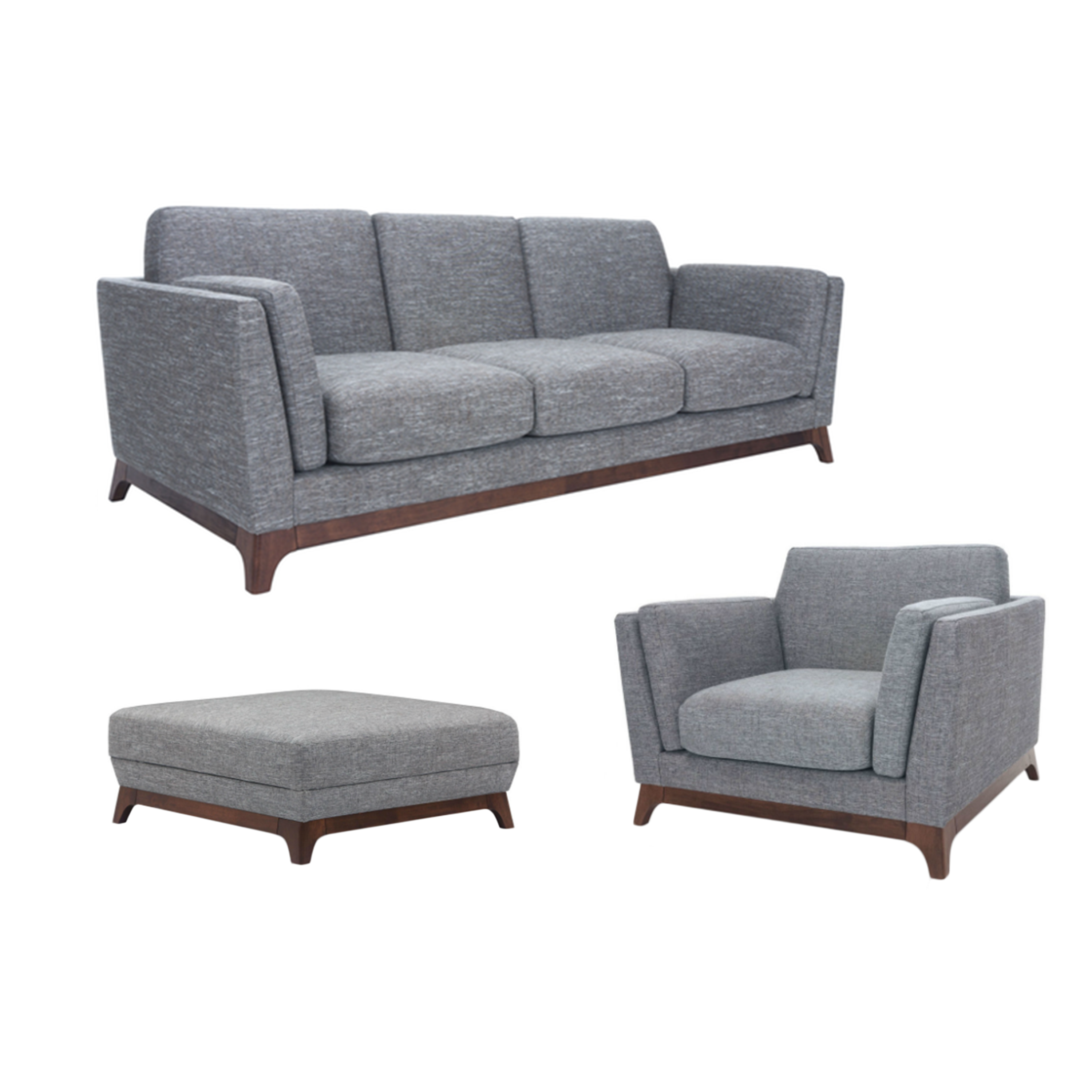 ... Elijah 3 Seater Living Room Set With Ottoman   Cocoa, Pebble   Image 1 Part 58