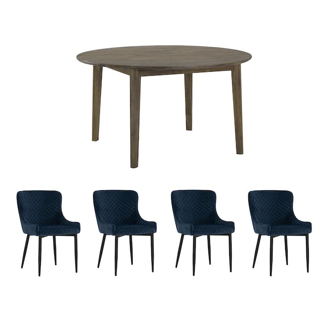 Tilda Round Dining Table 1.4m with 4 Tobias Dining Chairs in Navy - 0