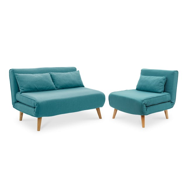 Noel 2 Seater Sofa Bed with Noel Sofa Bed - Teal - 0