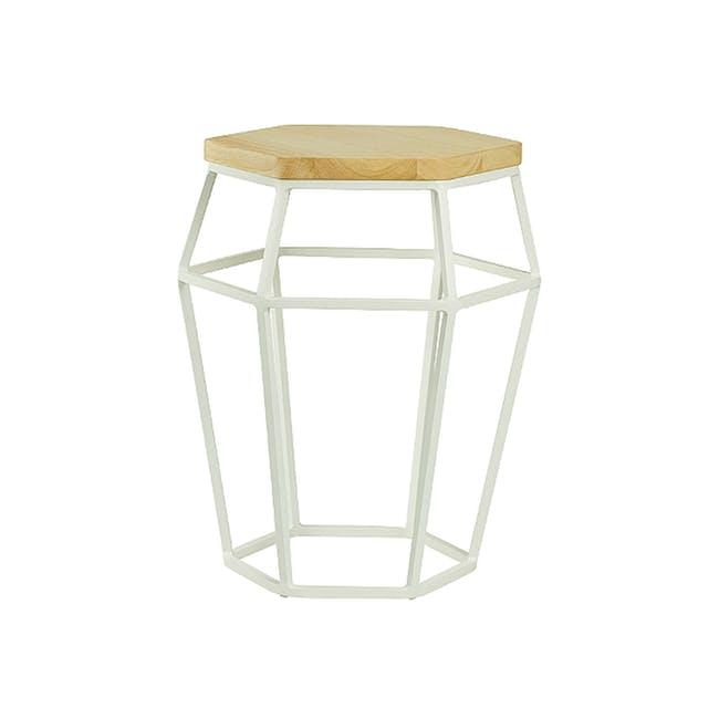 Apollo Stool/Occasional Table - Matt White, Oak - 5