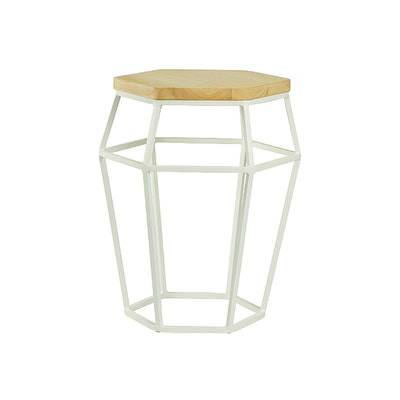 Apollo Stool/Occasional Table - Matt White, Oak - Image 1