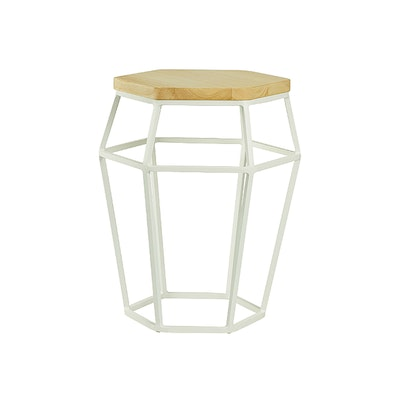 Apollo Stool/Occasional Table - Matt White, Oak