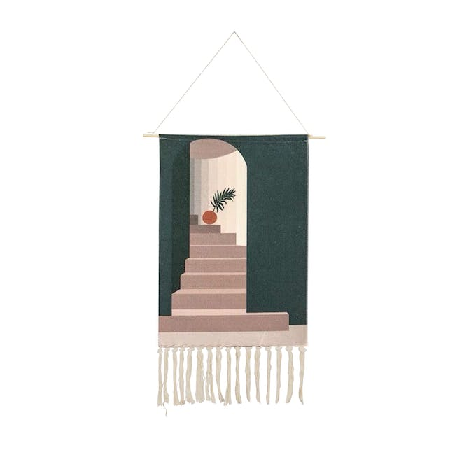 Nordic Tapestry with Tassle - Single Areca Palm Leaf - 0
