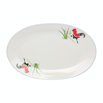 Rooster 12 Inch Oval Dish