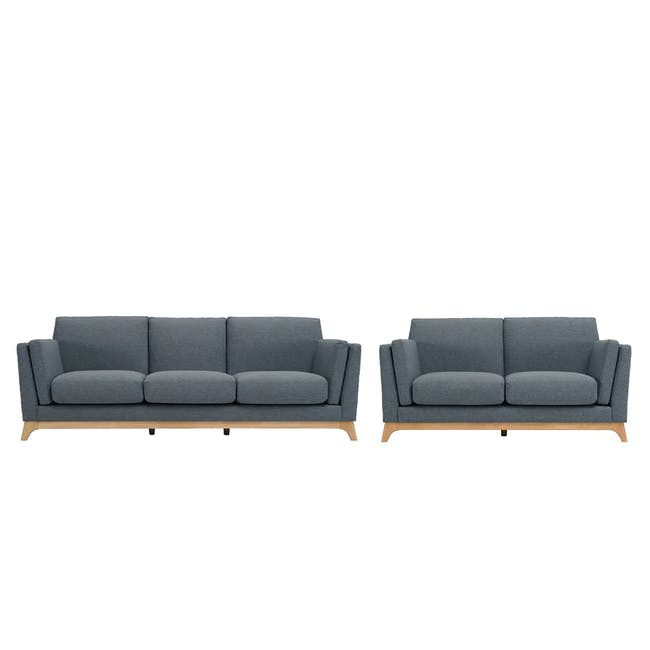 Elijah 3 Seater Sofa with Elijah 2 Seater Sofa - Whale (Fabric) - 0